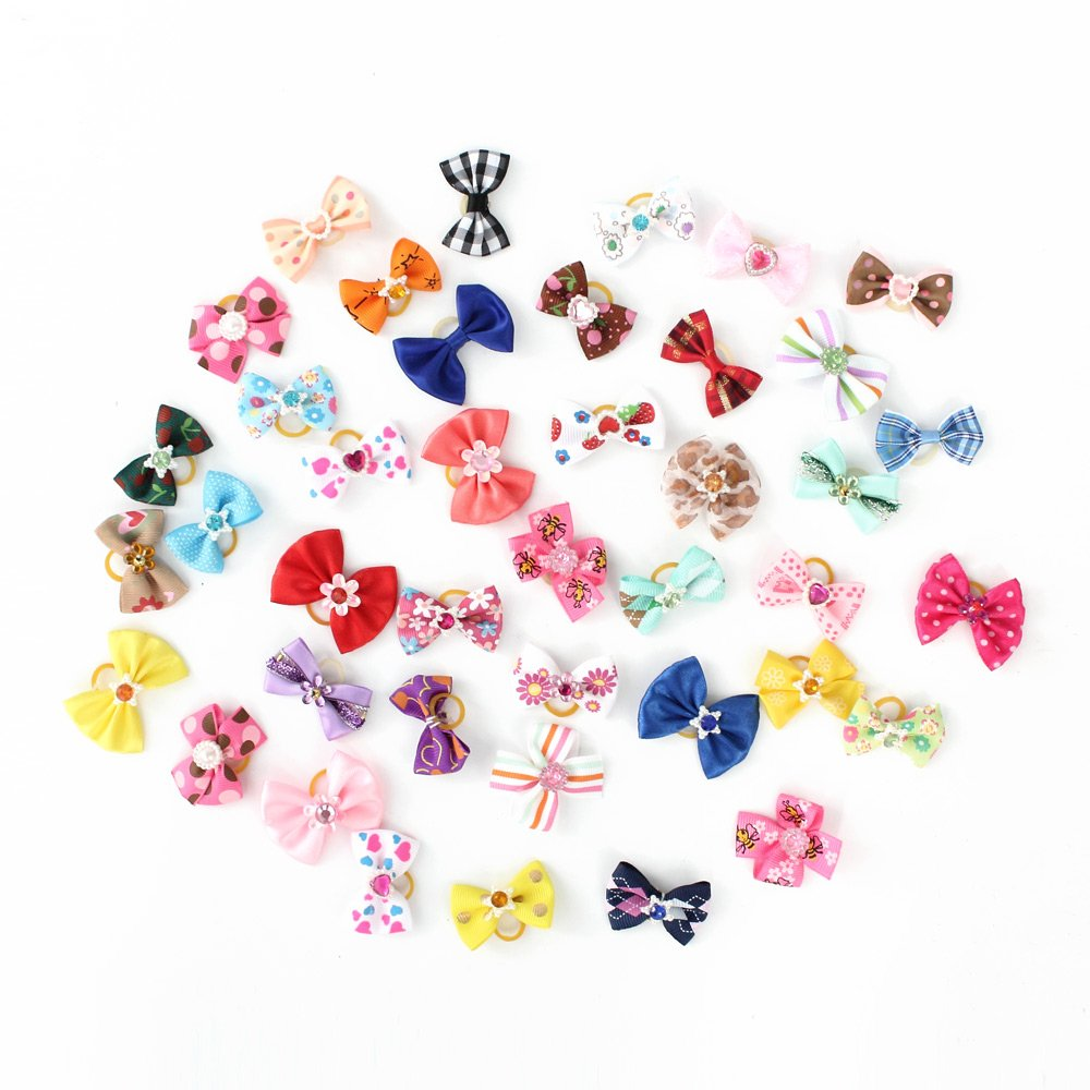 armistore Pet Hair Bows Dog Rubber Bands for Grooming