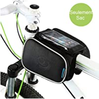 Cycling Frame Pannier Cell Phone Bag, WOTOW Bike Front Top Tube Touchscreen Saddle Bag Rack Mountain Road Bicycle Pack Double Pouch Mount Phone Bags for Smartphone