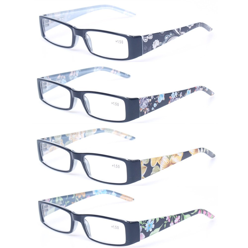 Kerecsen 4 Pack Fashion Women Reading Glasses Spring Hinge With Flower Print Ladies'Readers (4 Pack Mix Color, 2.75)