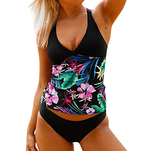 3adebb3bd4 Amazon.com: OrchidAmor Women Bathing Suit Printed Swimwer Two Piece Tankini  Female Swimming Suit: Clothing