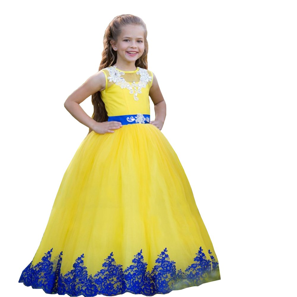 Banfvting Long Graduation Gown Children Lace-Up Floor Length Flower Girl Dresses Lace