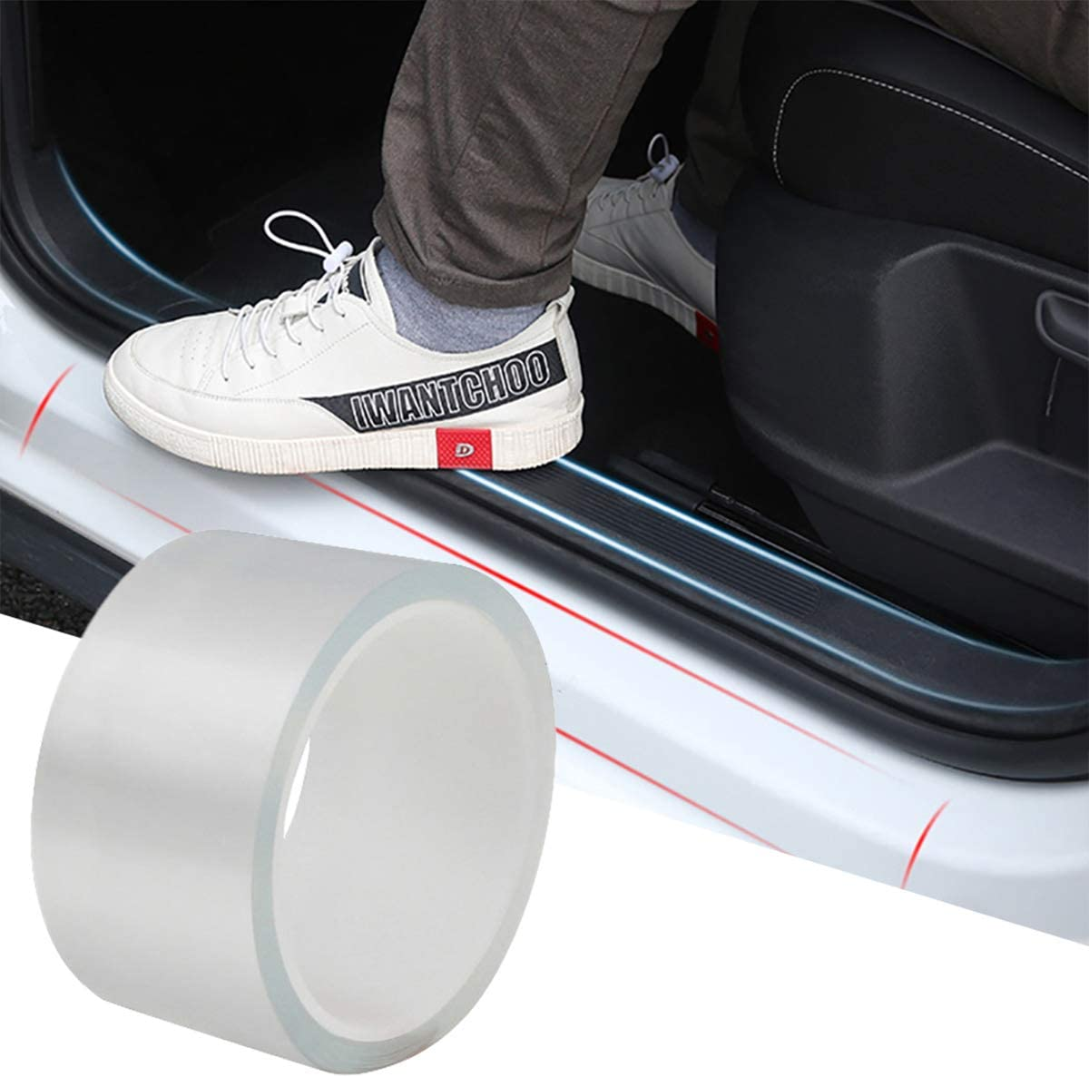 Car Door Edge Guards Clear Car Door Protector Universal Door Sill Protector Car Door Anti-Collision Front Rear Door Entry Sill Guard Scuff Plate Fits for Most Car 4In x 33Ft, Transparent