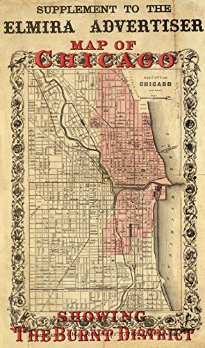 Newspaper | 1871 Map Of Chicago Showing The Burnt District. | Historic Antique Vintage Reprint