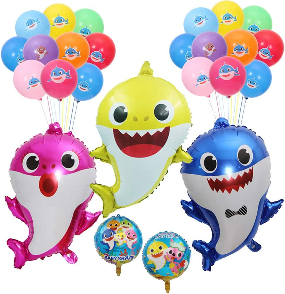 Baby Shark Helium Balloons 24 inch, 27 Pcs Shark Family Balloons for Sea World Shark Baby Themed Birthday Decorations Baby Shower Party Supplies