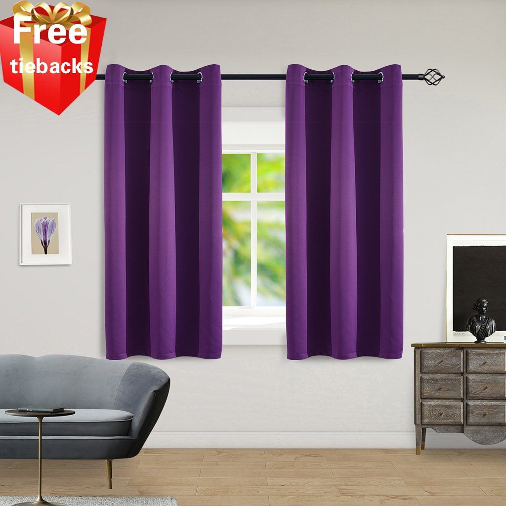 """Yakamok Thermal Insulated Solid Ring Top Blackout Window Drapes-Room Darkening Curtains Panels for Bedroom,42"""" W x 63"""" L Tie Backs Included (2 Panels,Purple)"""