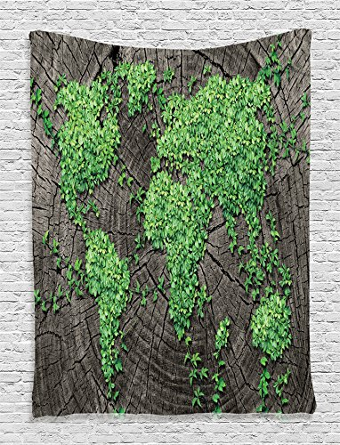 Ambesonne World Map Decor Collection, Tree Trunk Green Forest Fauna Natural Woods Environment Picture, Bedroom Living Girls Boys Room Dorm Accessories Wall Hanging Tapestry, Greeb Grey 20 X 65 Tree