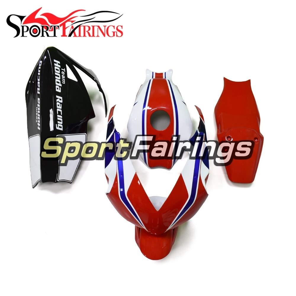 Sportfairings グラスファイバートラック外装部品セット適応フィッホンダ射出フェアリングキット白赤青   B07KFBFPX6