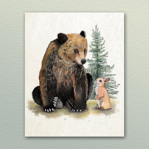Painted Woodland Forest Animal Babies Nursery Art Prints (Bear and Bunny, 8x10