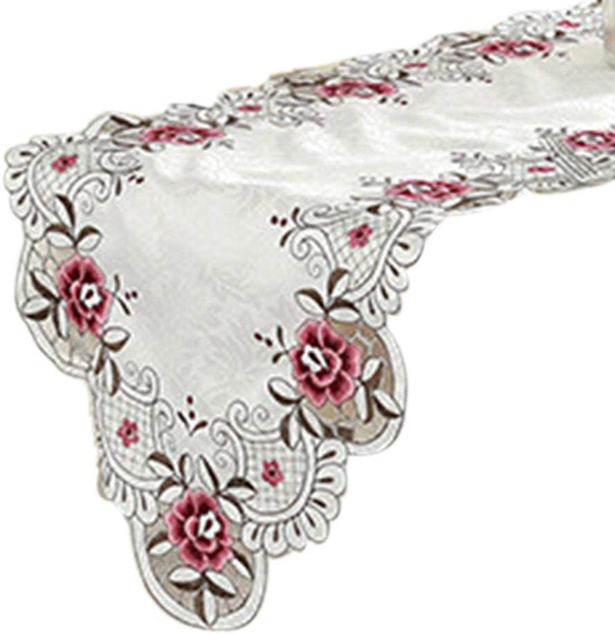 Embroidery Table Flag Polyester White Classic European Style Table Cloth Elegant Table Runner Holiday Party Table Decor Supplies