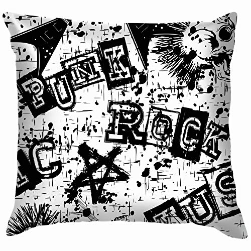 Abstract Black White Grunge Punk Pillow Case Throw Pillow Cover Square Cushion Cover 22X22 Inch]()