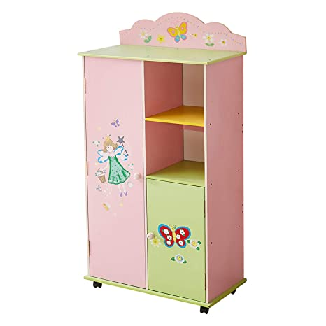WODENY Kids Wardrobes Bedroom Furniture Girls | Childs Wood Wardrobe |  Childrens Storage Cabinet | Kids Clothes Organiser Boxes with Pastel Water  ...