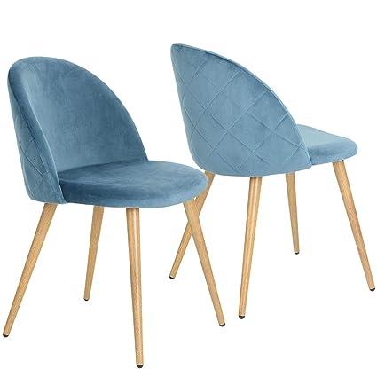 Sedie Soggiorno Legno.Coavas Sedie In Morbido Velluto Seduta E Schienale Imbottiti Con Gambe In Metallo Stile Legno Per Sedie Da Camera Da Pranzo E Soggiorno Blue