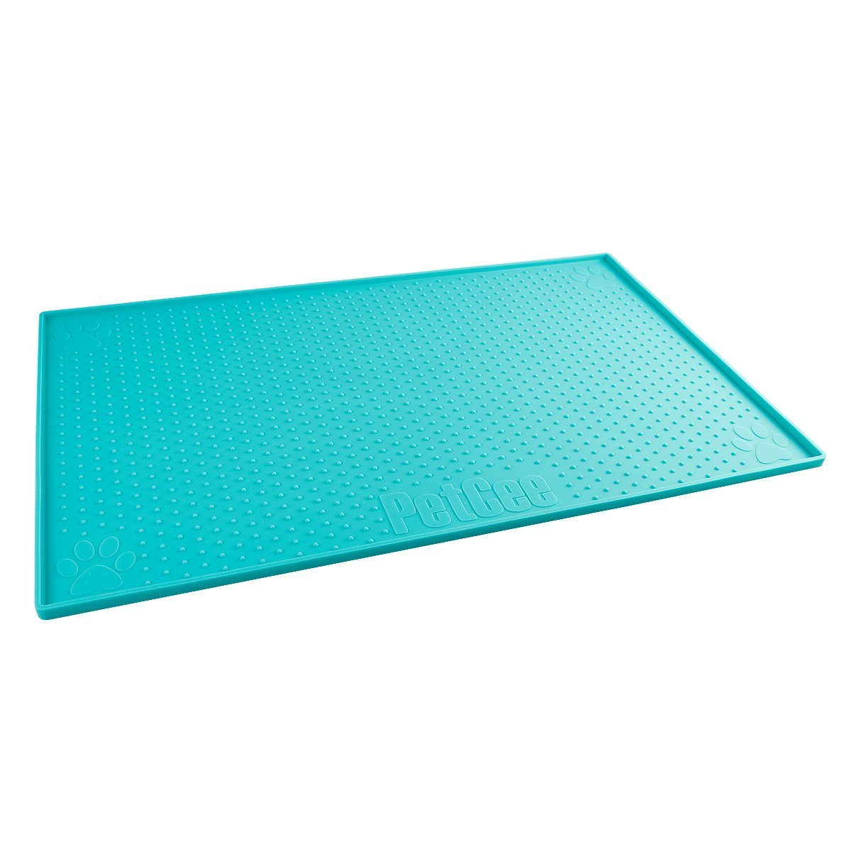 PetCee Large Dog Food Mat,FDA Grade Silicone Large Dog Mat,15.7x23.6 Inch Waterproof Non Slip Pet Food Mat for Dog & Cat (Deepskyblue)
