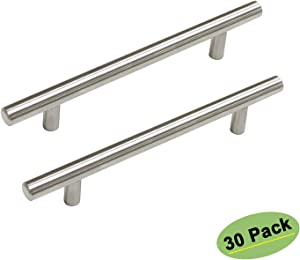 homdiy Cabinet Hardware Brushed Nickel Drawer Pulls 30 Pack Kitchen Cabinet Handles 4 inch Center to Center Modern Cabinet Door Handles Metal Bar Pulls for Cabinets