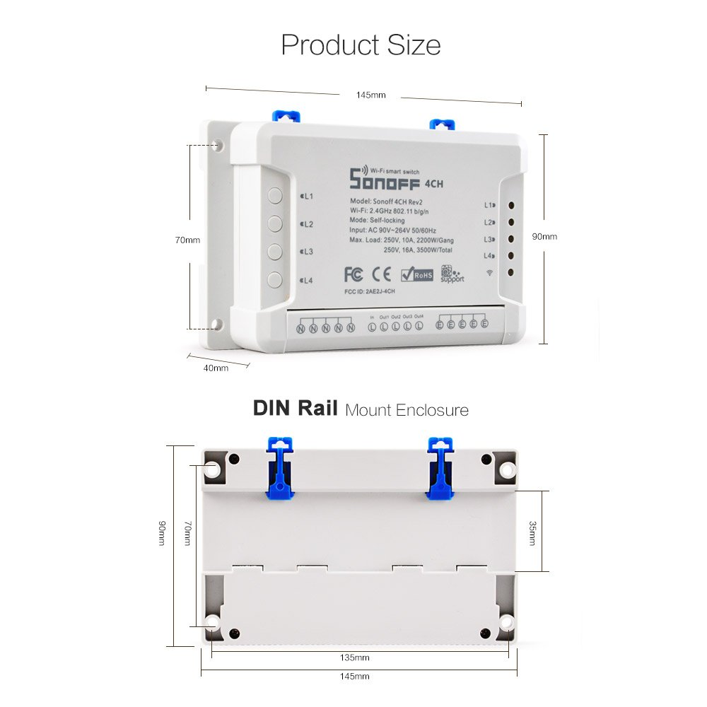 1-16s delay in inching mode /… Sonoff 4CH Pro R2-4 Gang Inching//Self-Locking//Interlock WiFi RF Smart Switch For DIY Smart Home,Compatible with Alexa and Google Assistant