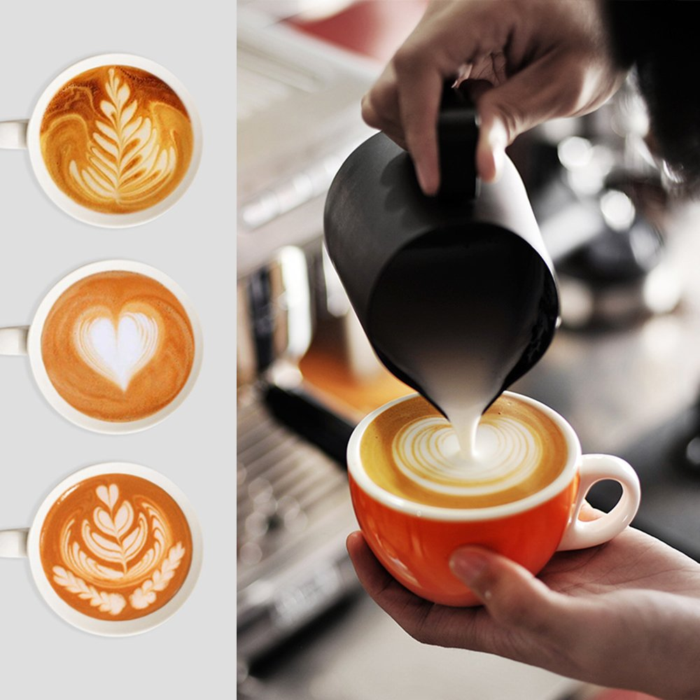 Espresso Coffee Milk Frothing Pitcher,WeHome Stainless Steel Creamer Macchiato Cappuccino Latte Art Making Pitcher Cups Perfect Christmas Gift for Your Family and Friends,12 oz/350ML by WeHome (Image #6)