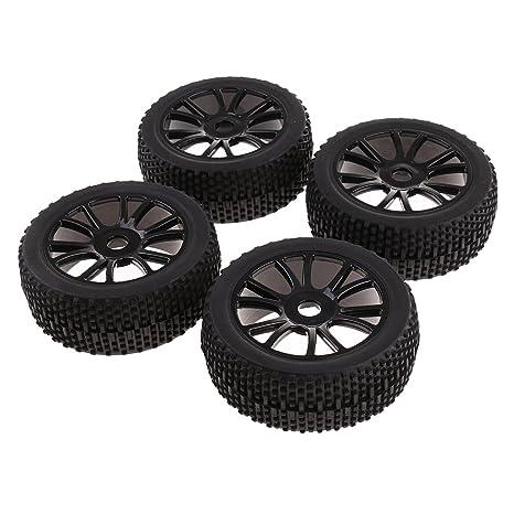 Sharplace 4X Llantas y Neumáticos Ruedas 17 mm Hub Color Negro Accesorios para 1:8