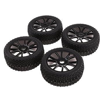 Sharplace 4X Llantas y Neumáticos Ruedas 17 mm Hub Color Negro Accesorios para 1:8 RC Coche Vehículo Todoterreno HSP HPI: Amazon.es: Juguetes y juegos
