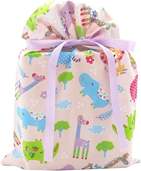 Tag and Ribbon~ Baby or Birthday GIANT GIFT SACK ~ 36 x 44 Bag any occasion ~Lion elephants ALL in one Bag!