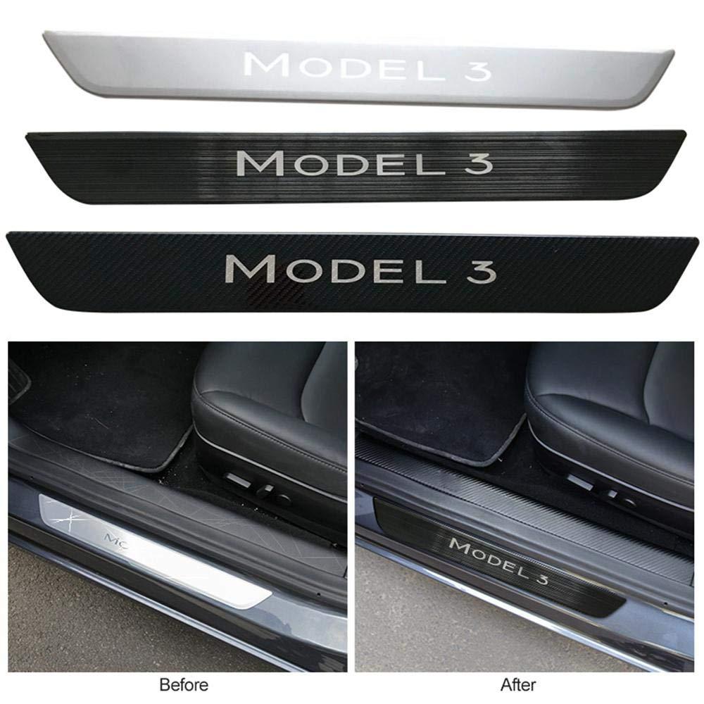 Carbon Fiber Hamkaw Tesla Model 3 Accessoire seuil de Porte de Protection adapt/é pour Tous Les mod/èles Tesla 3 Nouvelle Version