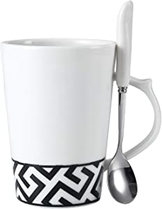 Sweepstakes: Coffee Tea Mug with Spoon Bone China Black…