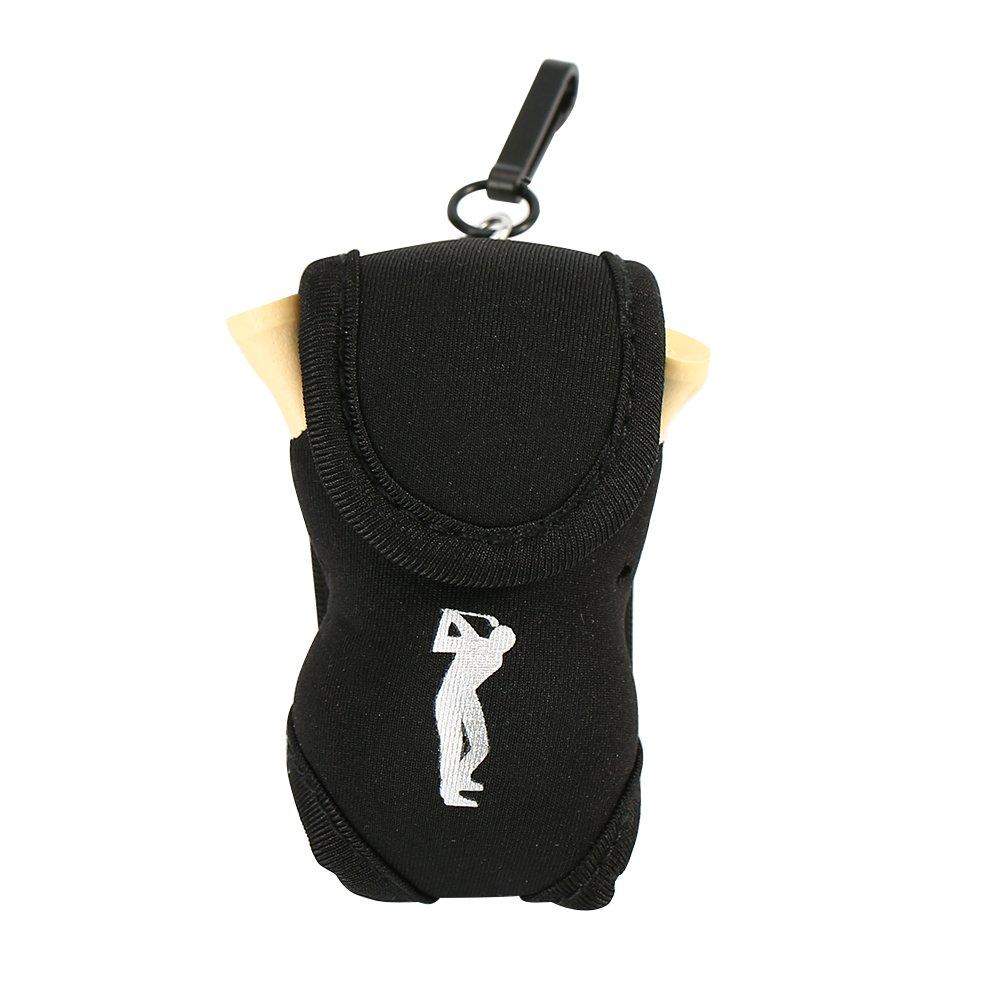 ゴルフボールポーチ ポータブルゴルフボールホルダー ゴルフティーボール2個を保持 B07JJZSKQS ブラック