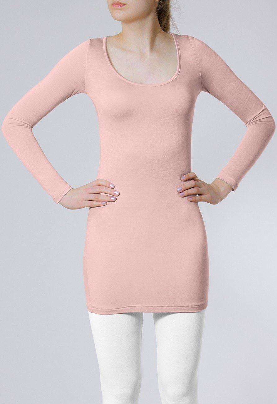 e319348343c1 CASPAR SRT012 Damen Basic Longshirt  Amazon.de  Bekleidung