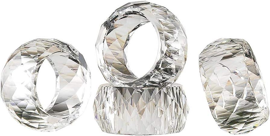 SET OF 2 BLUE GLASS CRYSTAL DIAMOND NAPKIN RING HOLDERS
