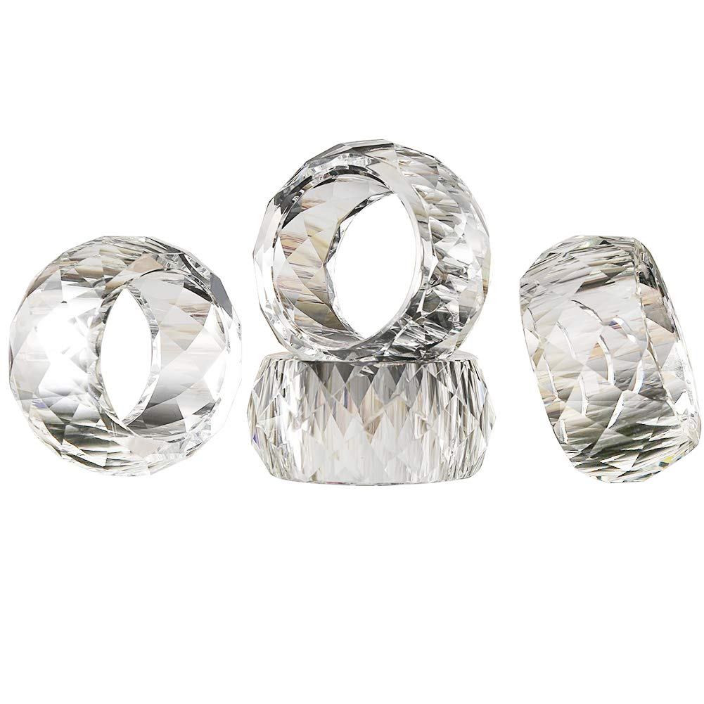DONOUCLS Crystal Napkin Ring Holders - 2 inch Set of 4,Table Party Wedding Set Christmas Decorations for Dinner