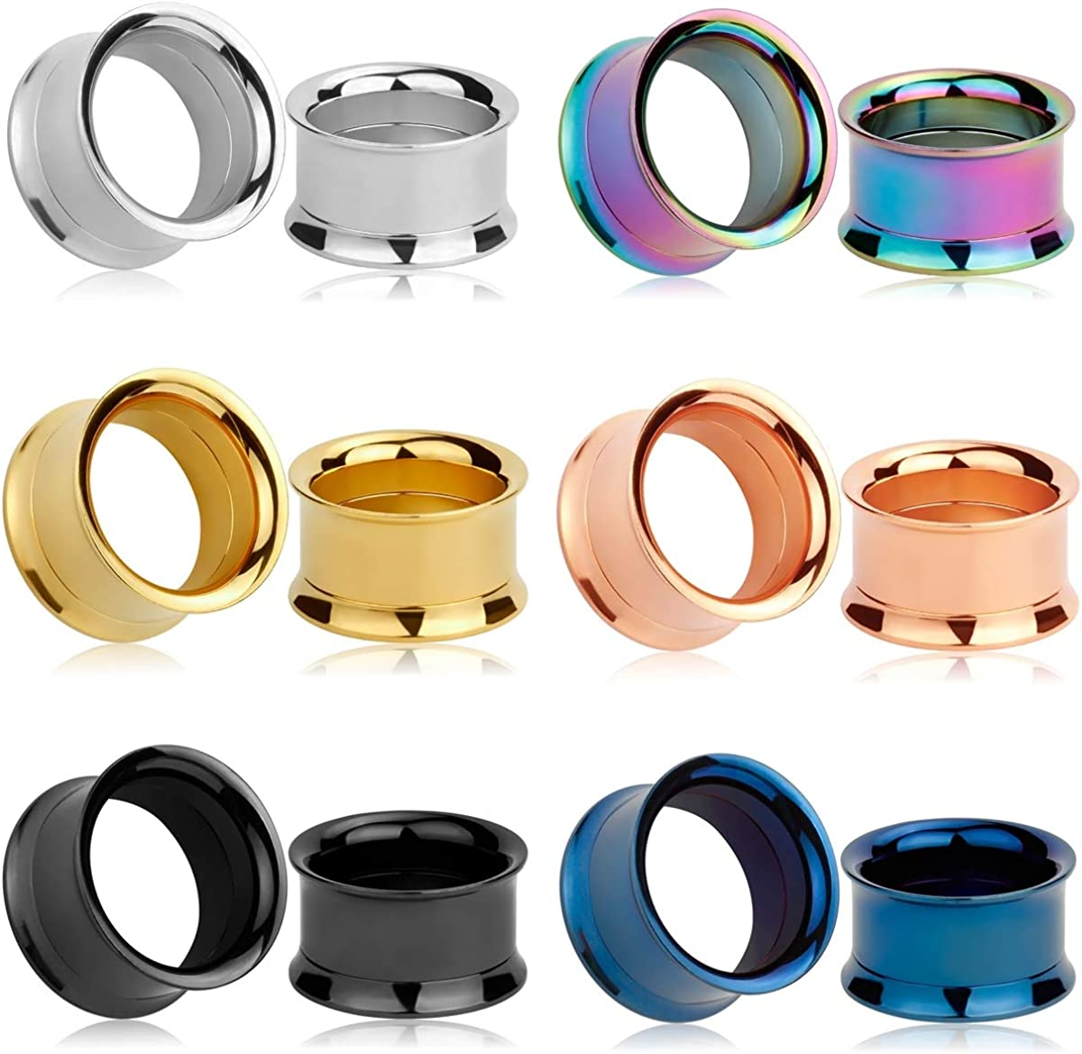 TBOSEN Set of 12 pcs Stainless Steel Ear Plugs Large Double Flare Alloy Gauges Stretching Screw Fit Tunnels Gauge 2g - 1 inch