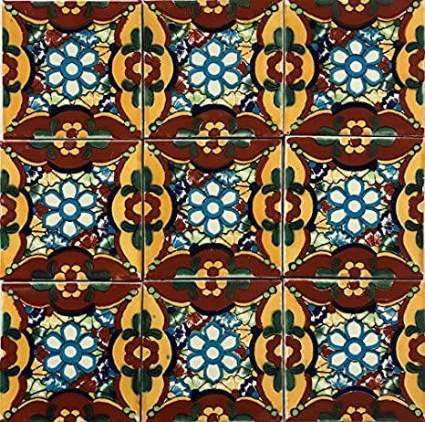 Amazon.com: Colorido de Talavera azulejos 2 x 2 mexicano ...