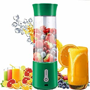 Portable Blender,16.9 Oz Personal Size Blender, 4000mAh blender portable USB Rechargeable Juicer Cup with Six 3D Blades,sport blender for Smoothies,Fruit,Mike Shakes,veggie (Green)
