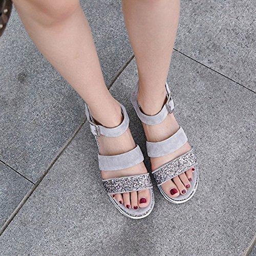 antiscivolo Scarpe Colore fondo in scarpe Nero Muffin con 39 sandali Dimensione esplosione da da donna pelle scarpe casual spesso plateau impermeabile sandali Estate fibbia donna Grigio w1XwP7