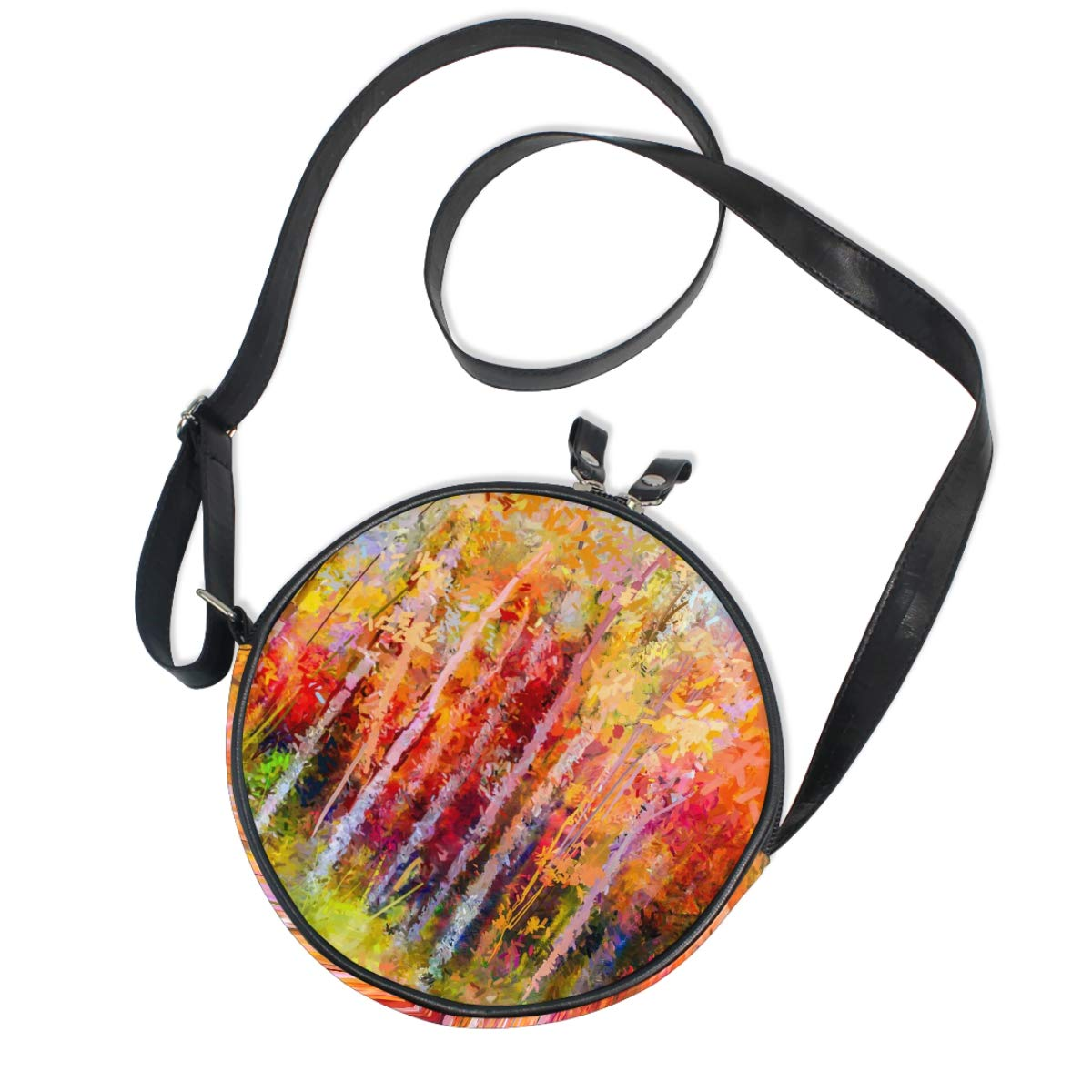 Autumn Forest Small Round Canvas Crossbody Messenger Bags for Women