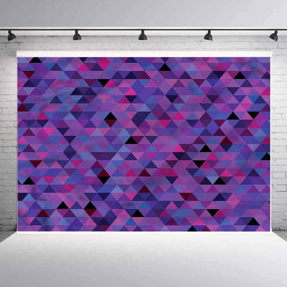 6x6FT Vinyl Photo Backdrops,Eggplant,Small Triangles Mosaic Photo Background for Photo Booth Studio Props