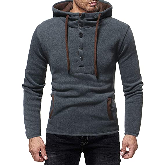 Amazon.com: OSTELY 2018 Fashion Mens Autumn and Winter Casual Solid Hooded Button Cap Suits Sweatshirt Blouse Top: Clothing