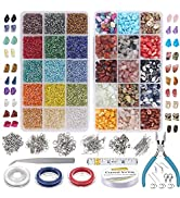 EuTengHao 7030Pcs Irregular Chips Stone Beads Natural Gemstone Beads and Glass Bugle Seed Beads K...