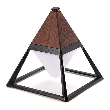 Lamparas LED de Mesa Luz Mesita Noche Portátil USB Recargable con Cambio de Color y Función de Brillo Ajustable para La Oficina Madera Oscura