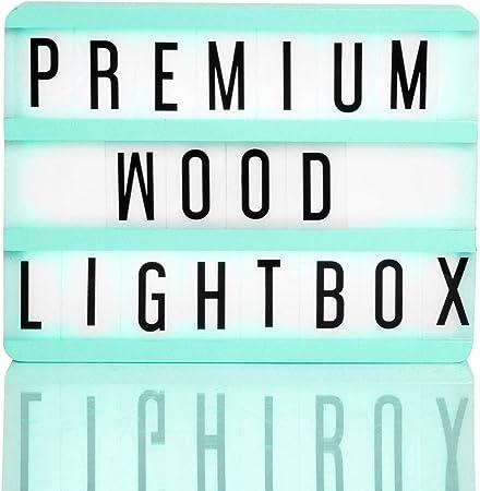 Caja luminosa LED de - Premium de madera azul formato A5 - 85 caracteres y cable USB): Amazon.es: Hogar