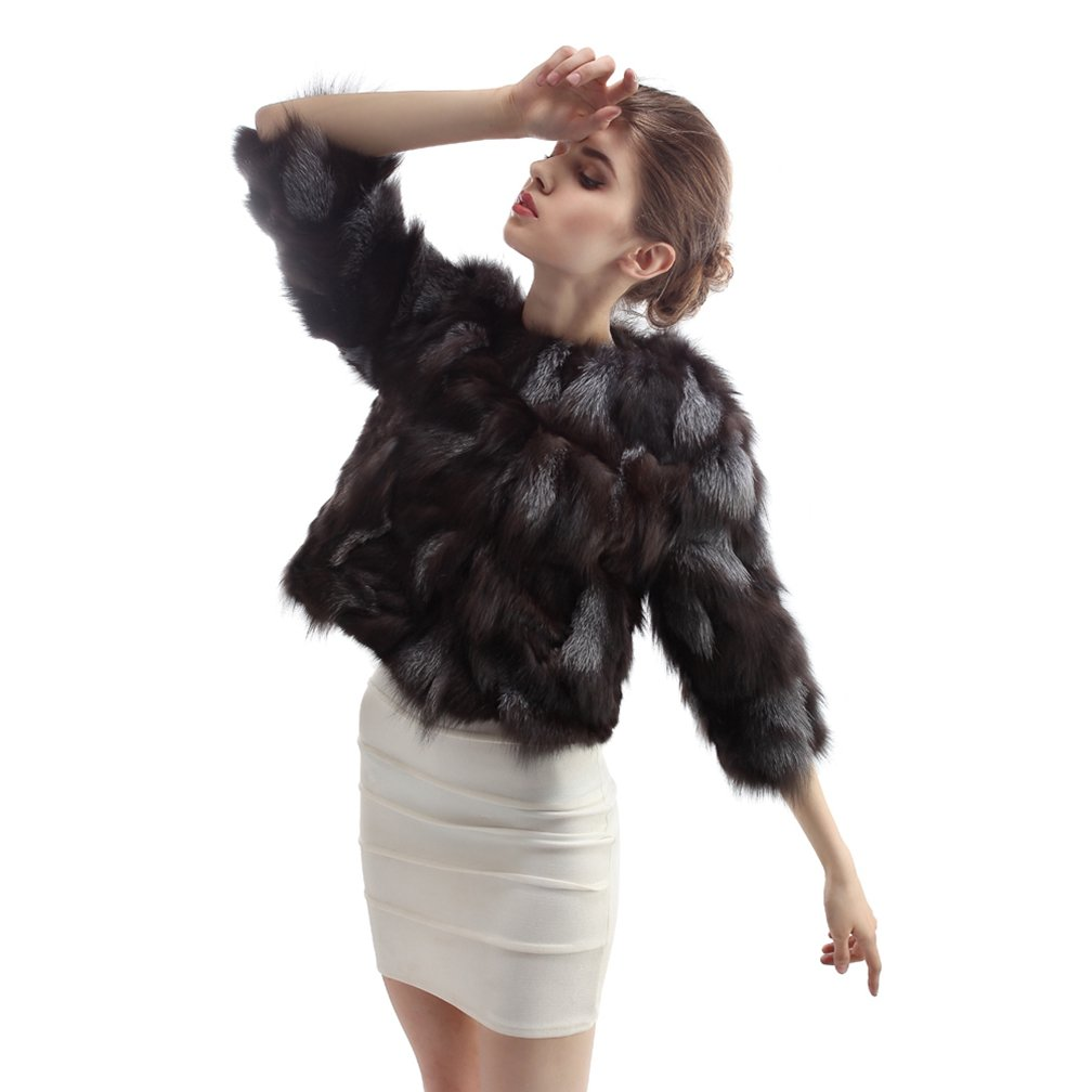 OLLEBOBO Women's Coat For Winter Genuine Fox Fur Knitted Coat without Belt Size 2XL Black by OLLEBOBO (Image #6)