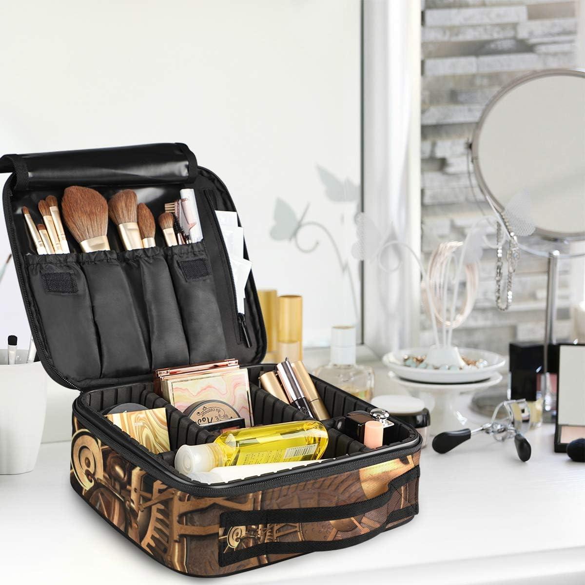 /étanche Steampunk Trousse de Maquillage Antique Organiseur de Maquillage Trousse de Toilette Portable en Tissu Oxford d/étachable