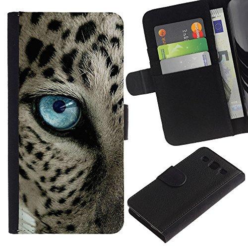 iBinBang / Coque Housse Case Cover Etui en cuir - Taches noires Blue Cat Eye - Samsung Galaxy S3 III I9300