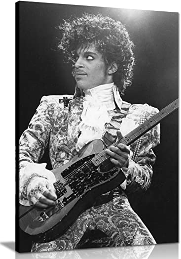 Prince Black White Music Canvas Wall Art Picture Print 36x24in