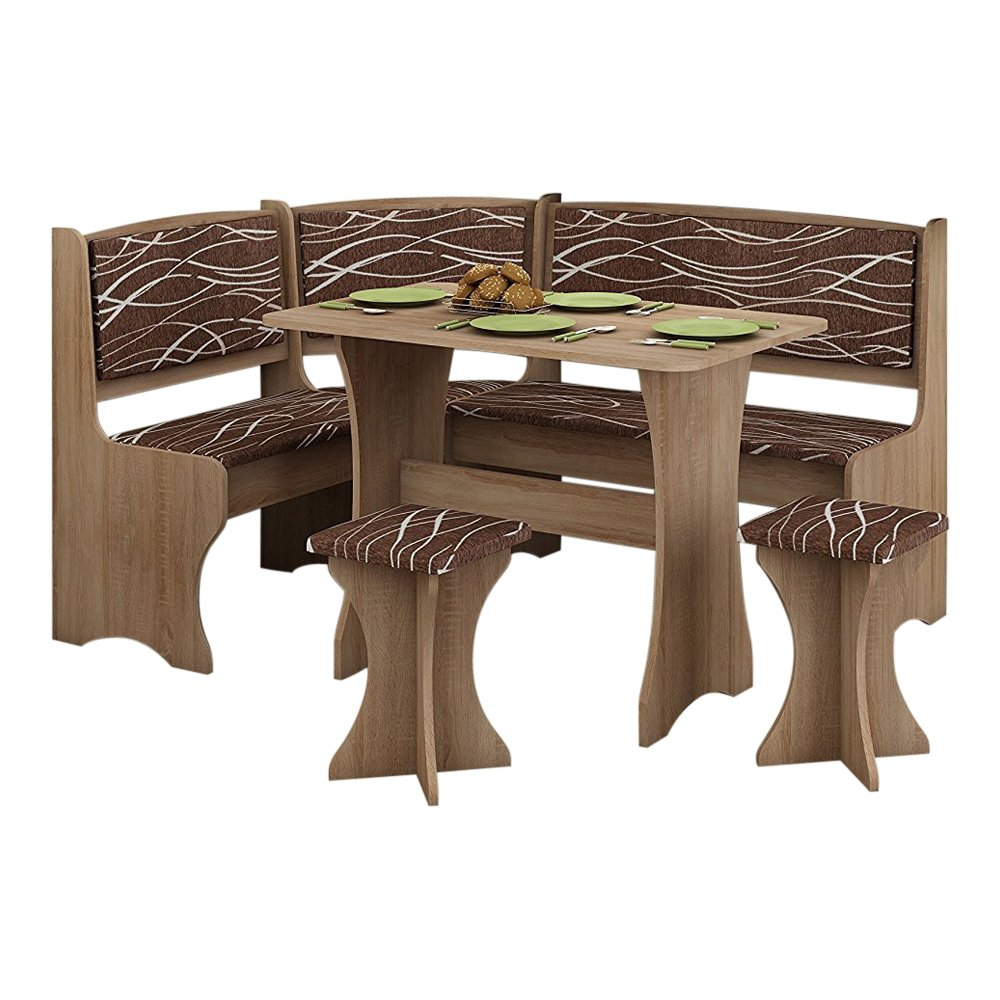 Breakfast Kitchen Nook Table Set, Bench Seating with Storage and Stools, Oak