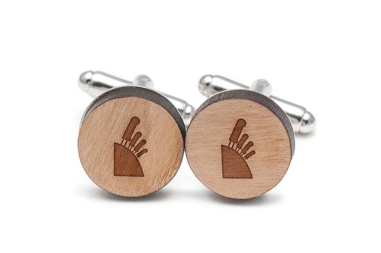 Knife Block Cufflinks, Wood Cufflinks Hand Made In The Usa