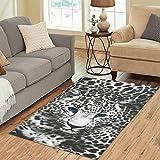 Cheap InterestPrint Fantasy Wildlife Animal Print Art Area Rug 5′ x 3'3″ – Black White Leopard Print Modern Carpet Rugs for Home Living Room Bedroom Decor