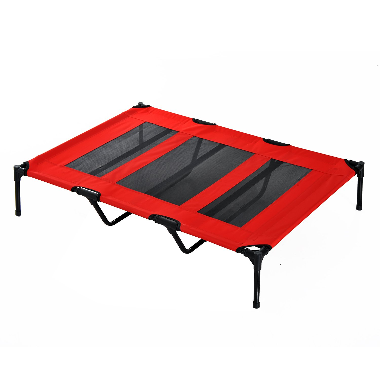 PawHut D04069RD 48  X 36  X 9  Elevated Pet Bed Foldable Raised Dog Cot with Carrying Bag, Red Black