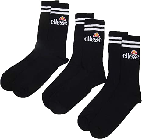 athletic sports socks Ellesse Triple Pack of Socks in Black White Navy