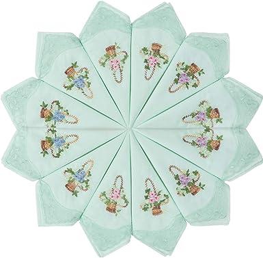 HOULIFE - Pañuelos bordados para mujer, 100% algodón, encaje verde 60S, para bodas, fiestas, 6/12 piezas, 29 x 29 cm Verde Green-12pcs Small: Amazon.es: Ropa y accesorios