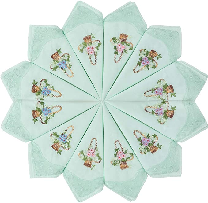 HOULIFE Womens Cotton Handkerchiefs Soft Light Blue Flowers Embroidery Handkerchiefs with Lace 6//12 Pieces 29 x 29 cm